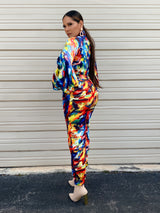 Elie Multicolor Ballon Sleeve Jumpsuit