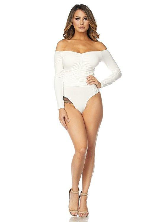 Ivory Off Shoulder Ruched Front Long Sleeved Boysuit - MY SEXY STYLES