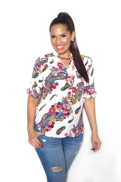 Multicolor Print Paisley Top - MY SEXY STYLES  - 1