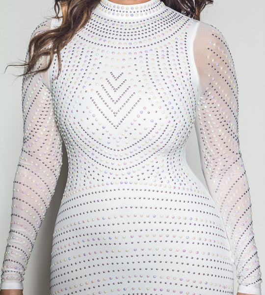 White Iridescent Long Sleeve Bodycon Dress - MY SEXY STYLES  - 4