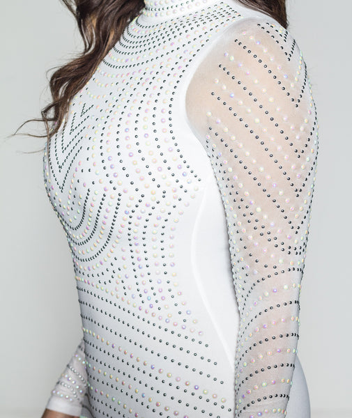 White Iridescent Long Sleeve Bodycon Dress - MY SEXY STYLES  - 5