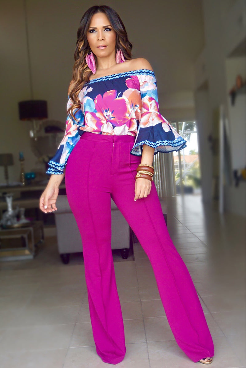 ISABELLA HIGH WAIST CREPE TROUSERS - MAGENTA - MY SEXY STYLES