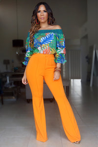 ISABELLA HIGH WAIST CREPE TROUSERS - ORANGE - MY SEXY STYLES