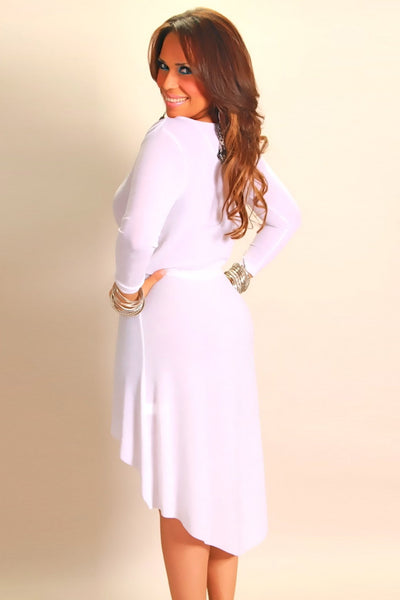 Ivory Long Sleeved High Low W/ Metallic Accent Party Dress