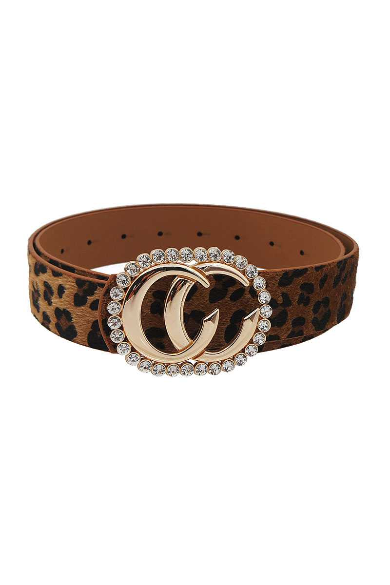 Interlocking CC Buckle with Rhinestones Leopard Fur Belt