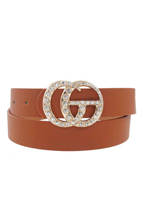 Pants Interlocking GG Buckle W/ Rhinestones Belt