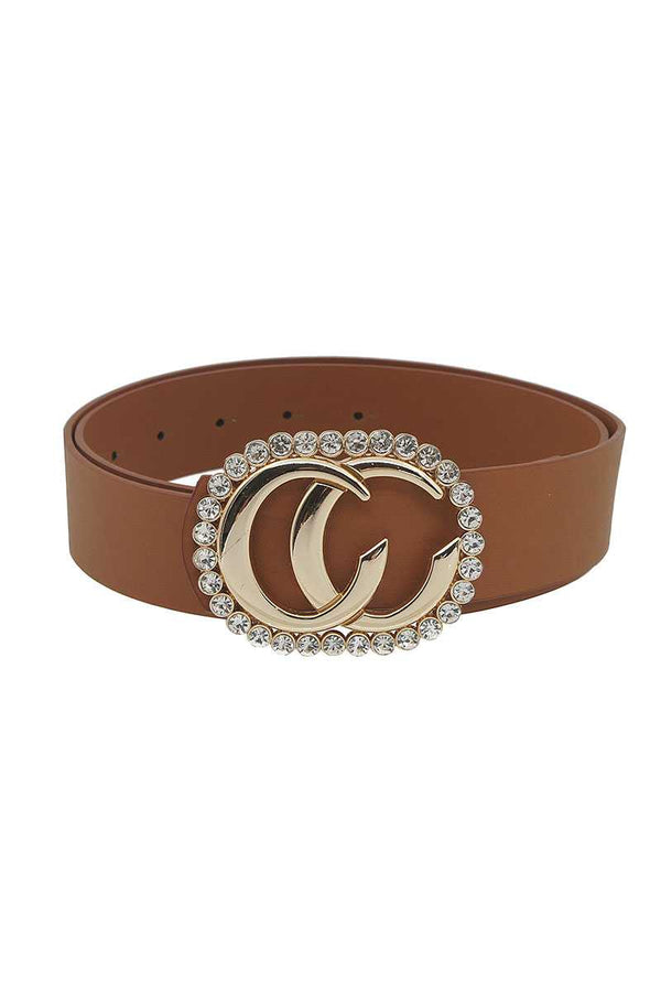 Interlocking CC Buckle with Rhinestones Belt