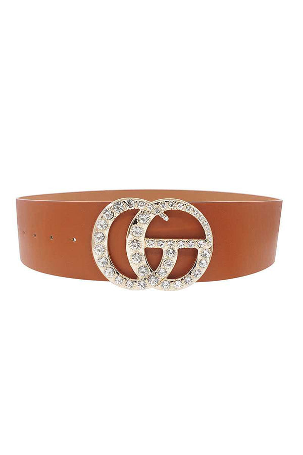 Interlocking GG Oversized with Rhinestones Buckle Belt