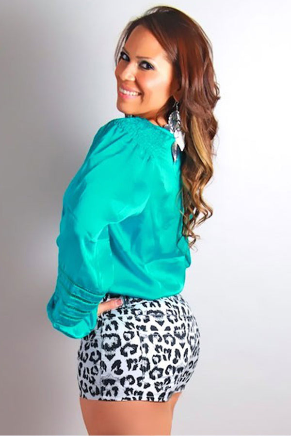 Ivory Black Cheetah Print Shorts