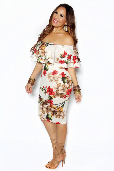 Ivory Floral Print Off Shoulder Bodycon Frill Dress