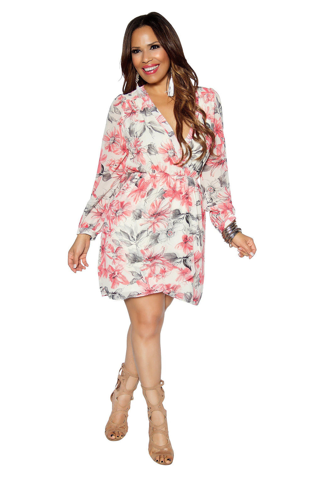 Ivory Coral Floral Print Quarter Sleeve Dress - MY SEXY STYLES