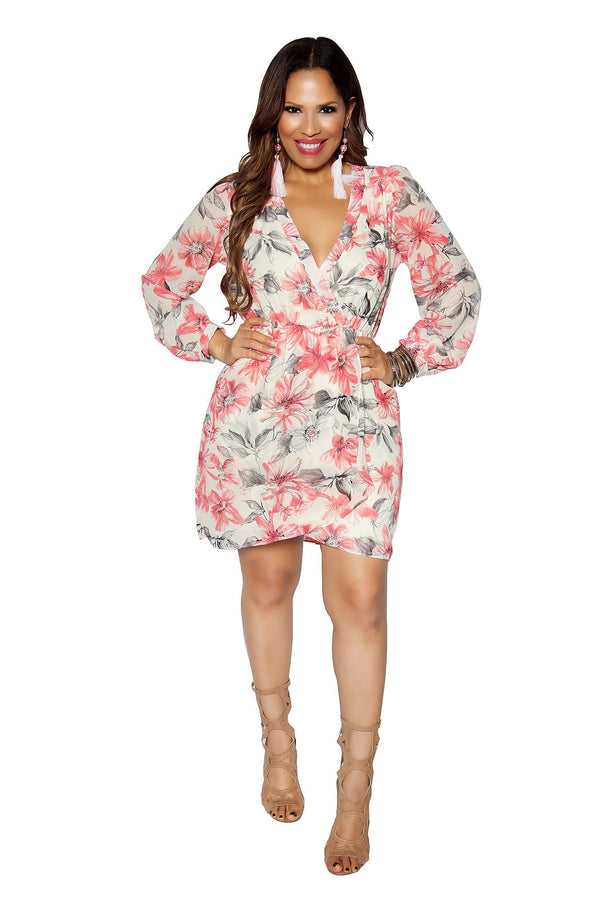 Ivory Coral Floral Print Quarter Sleeve Dress