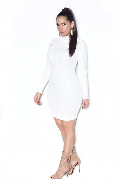Ivory Ribbed Long Sleeves Mock Neck Dress - MY SEXY STYLES  - 2