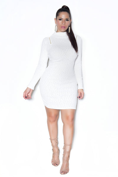 Ivory Ribbed Long Sleeves Mock Neck Dress - MY SEXY STYLES  - 1