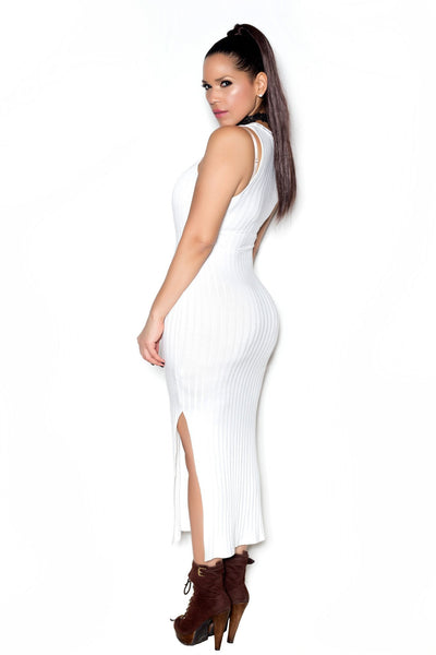 Ivory Ribbed Sleeveless Bodycon Maxi Dress W/ Side Slits - MY SEXY STYLES  - 2