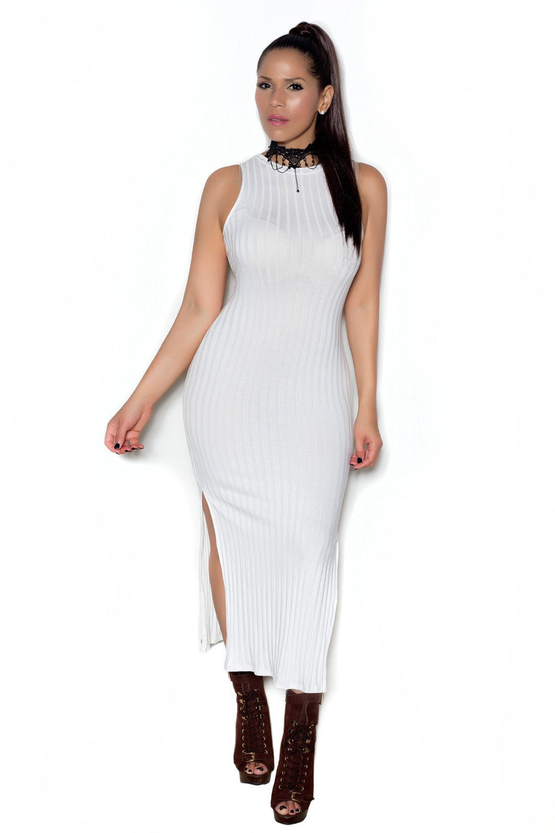 Ivory Ribbed Sleeveless Bodycon Maxi Dress W/ Side Slits - MY SEXY STYLES
