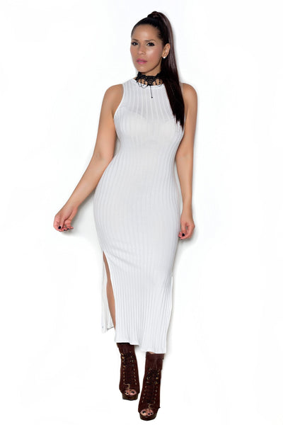 Ivory Ribbed Sleeveless Bodycon Maxi Dress W/ Side Slits - MY SEXY STYLES  - 1