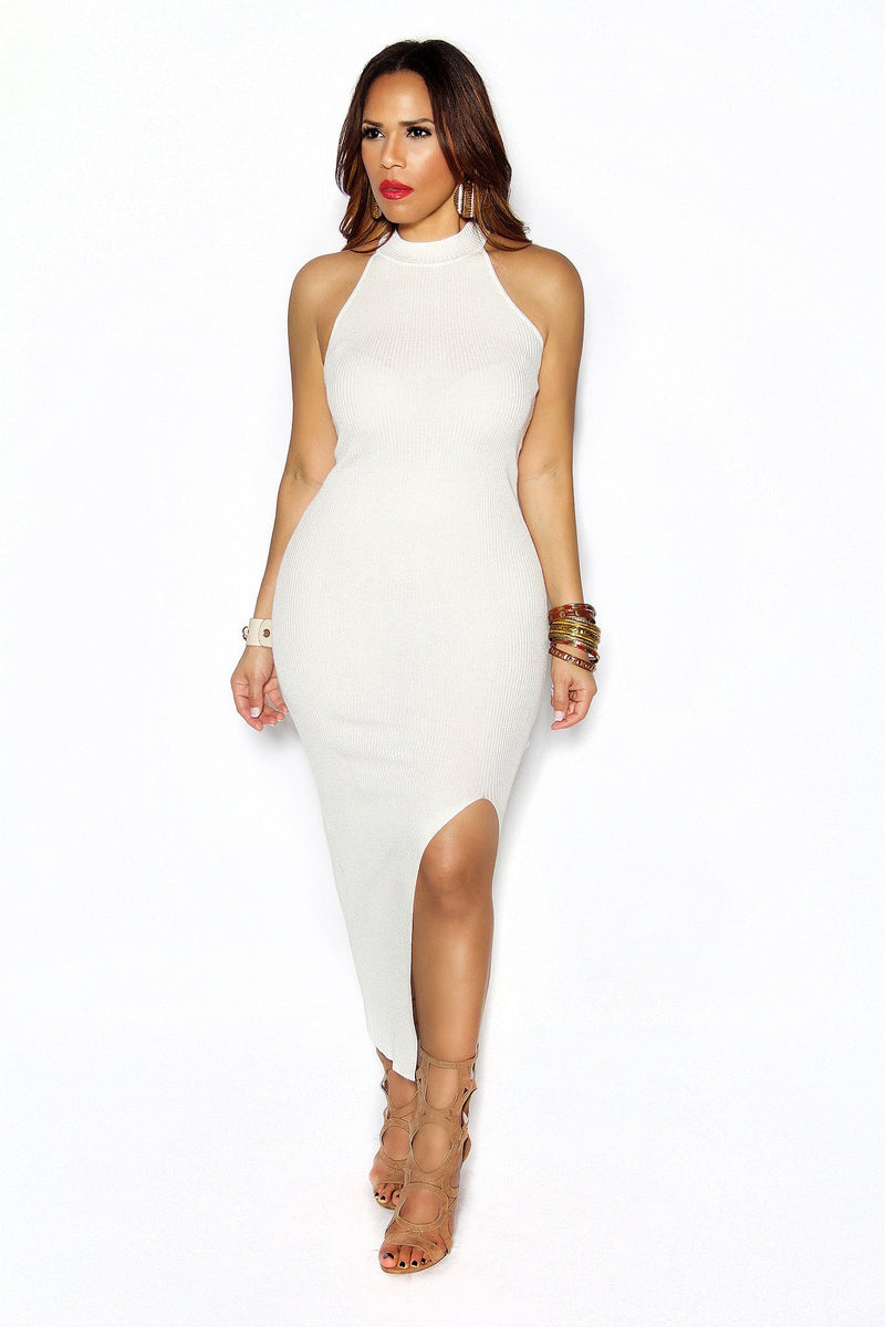 Ivory Ribbed Smock Neck Side Slit Bodycon Dress - MY SEXY STYLES