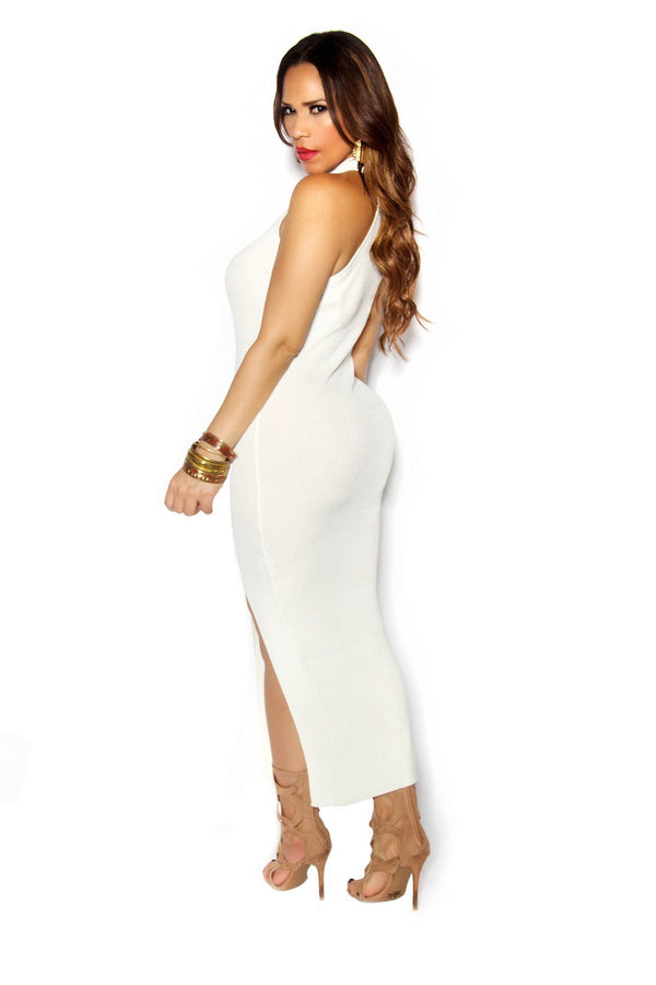 Ivory Ribbed Smock Neck Side Slit Bodycon Dress