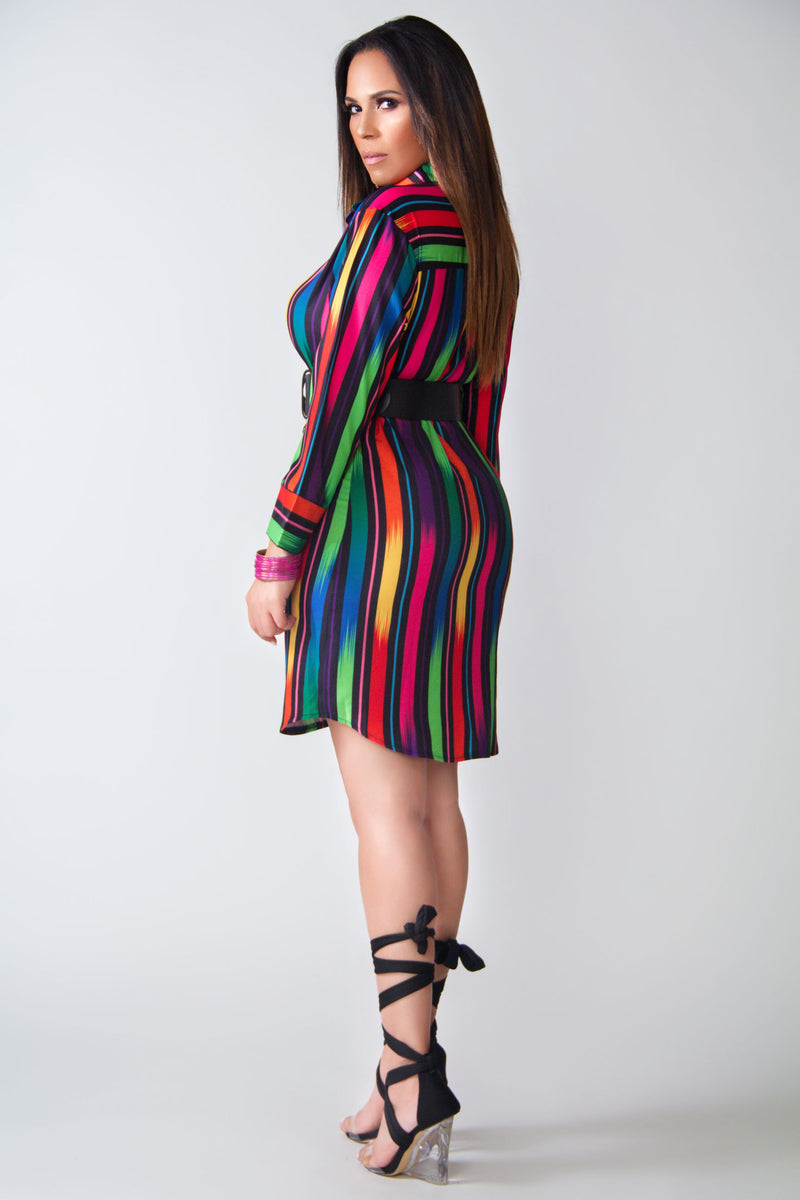 Ivy Colorful Stripes Long Sleeves Shirt Dress