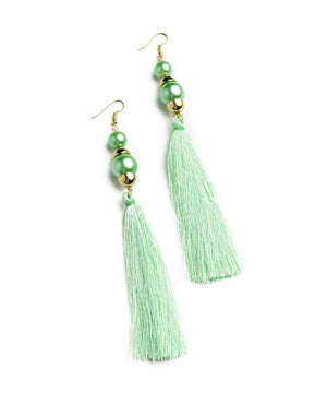 Teal Pearl Tassel Drop Earrings - MY SEXY STYLES