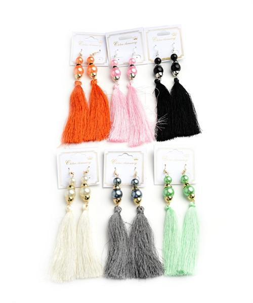 Teal Pearl Tassel Drop Earrings