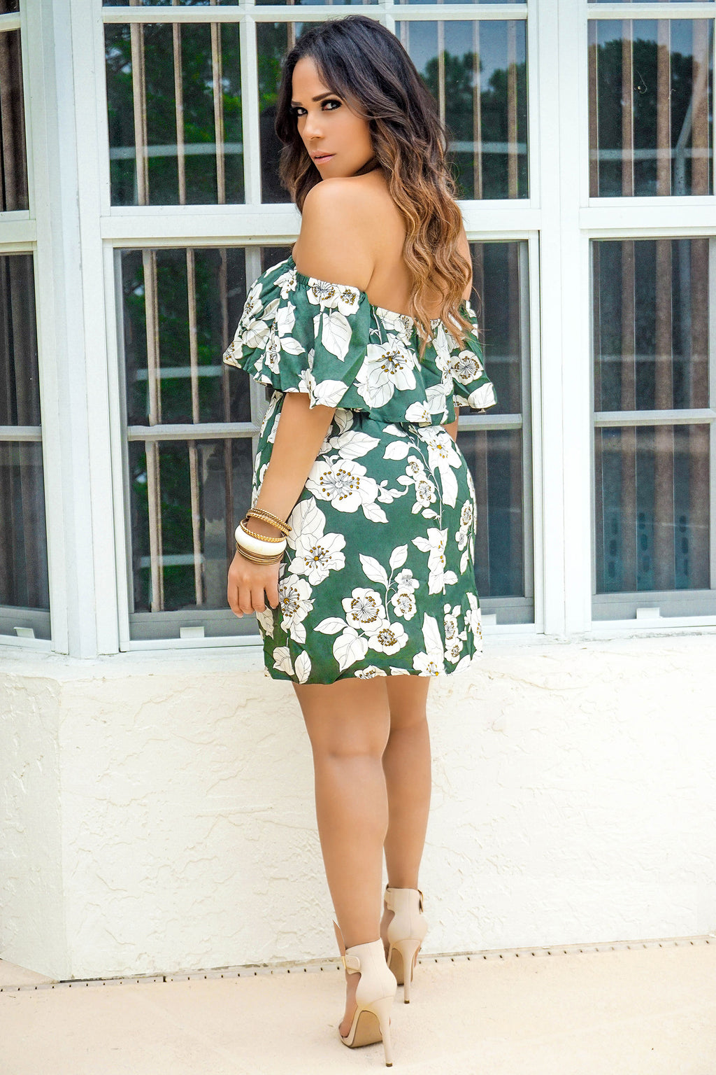 JOSIE OLIVE IVORY OFF SHOULDER FLORAL DRESS