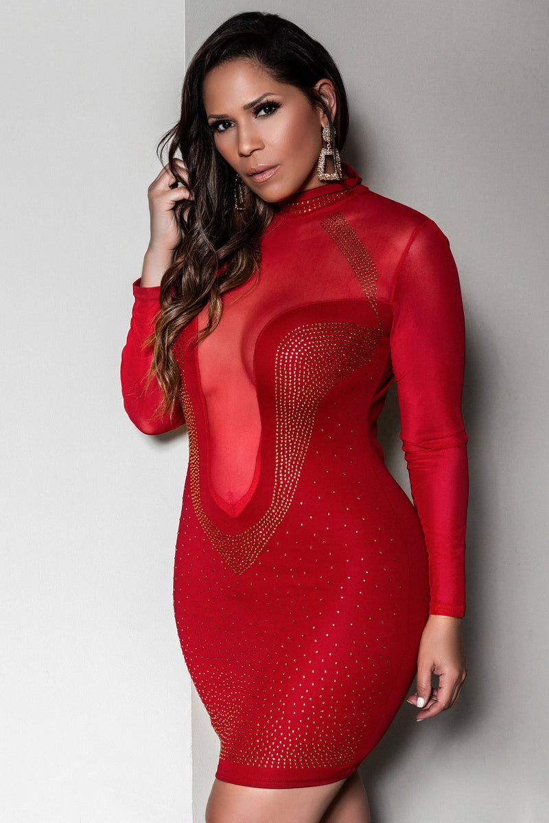 Jayden Sexy Studded Mesh See Through Plunging Mock Neck Clubbing Mini Dress
