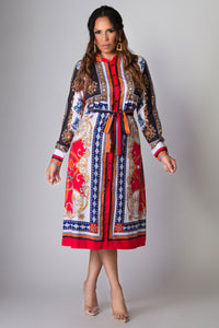 Johanna Baroque Print Midi Shirt Dress With Belt