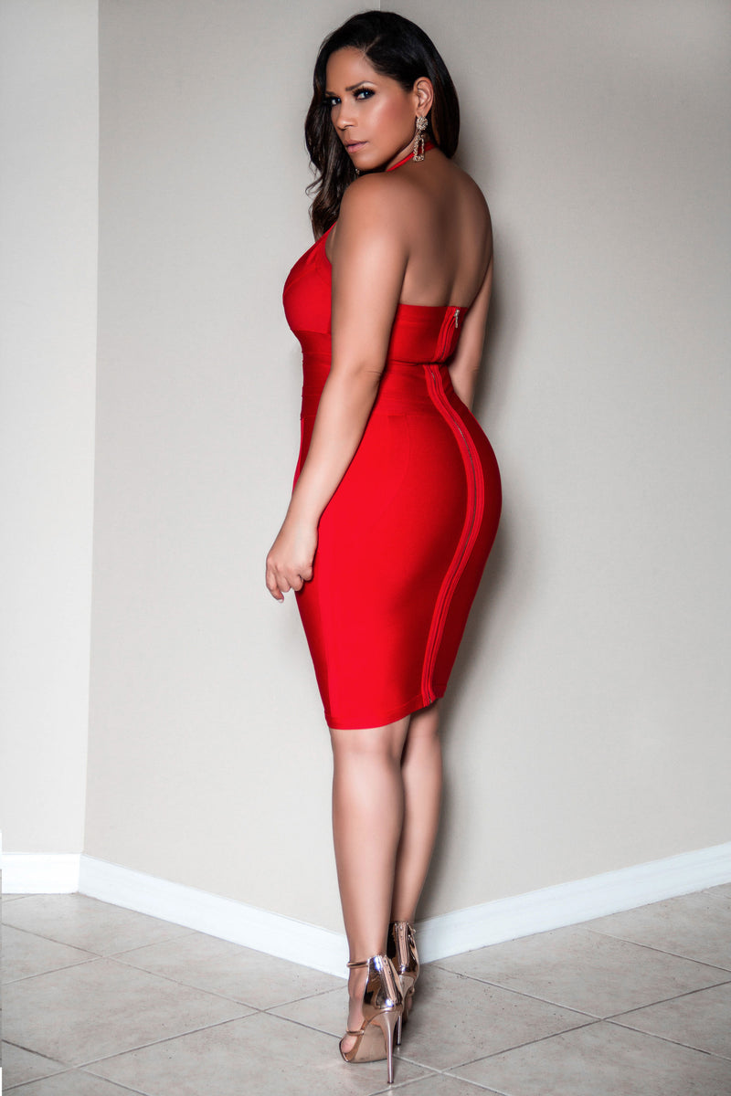 Jordyn Sexy Halter V Neck Knee Length Party Bodycon Bandage Dress