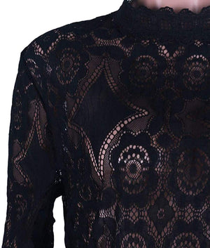 Joy Sophisticated Boutique Flower Crochet Lace Detail Black Blouse
