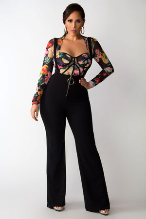 Julia High Waisted Bell Bottom Suspender Jumpsuit