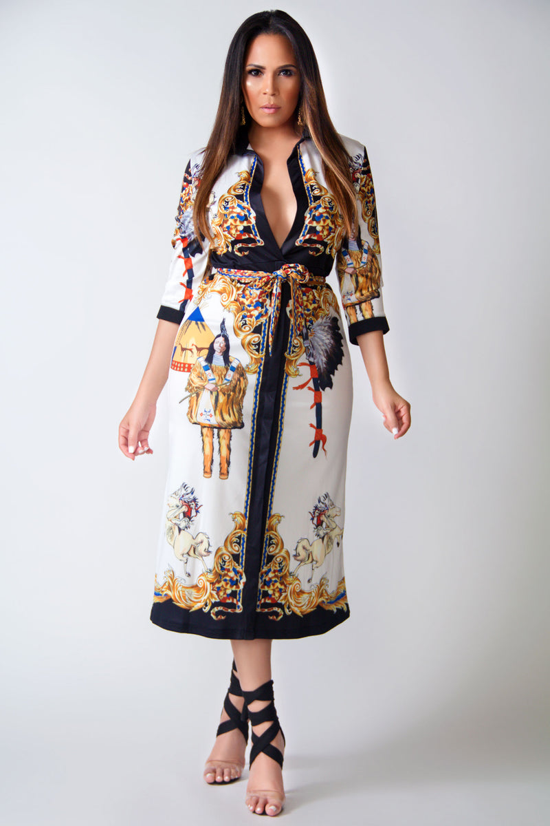 Juliana Native Print Quarter Sleeves V-Neck Belted Classy Dress