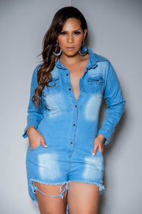 Julieta Denim Long Sleeve Clubbing Denim Romper With Pockets