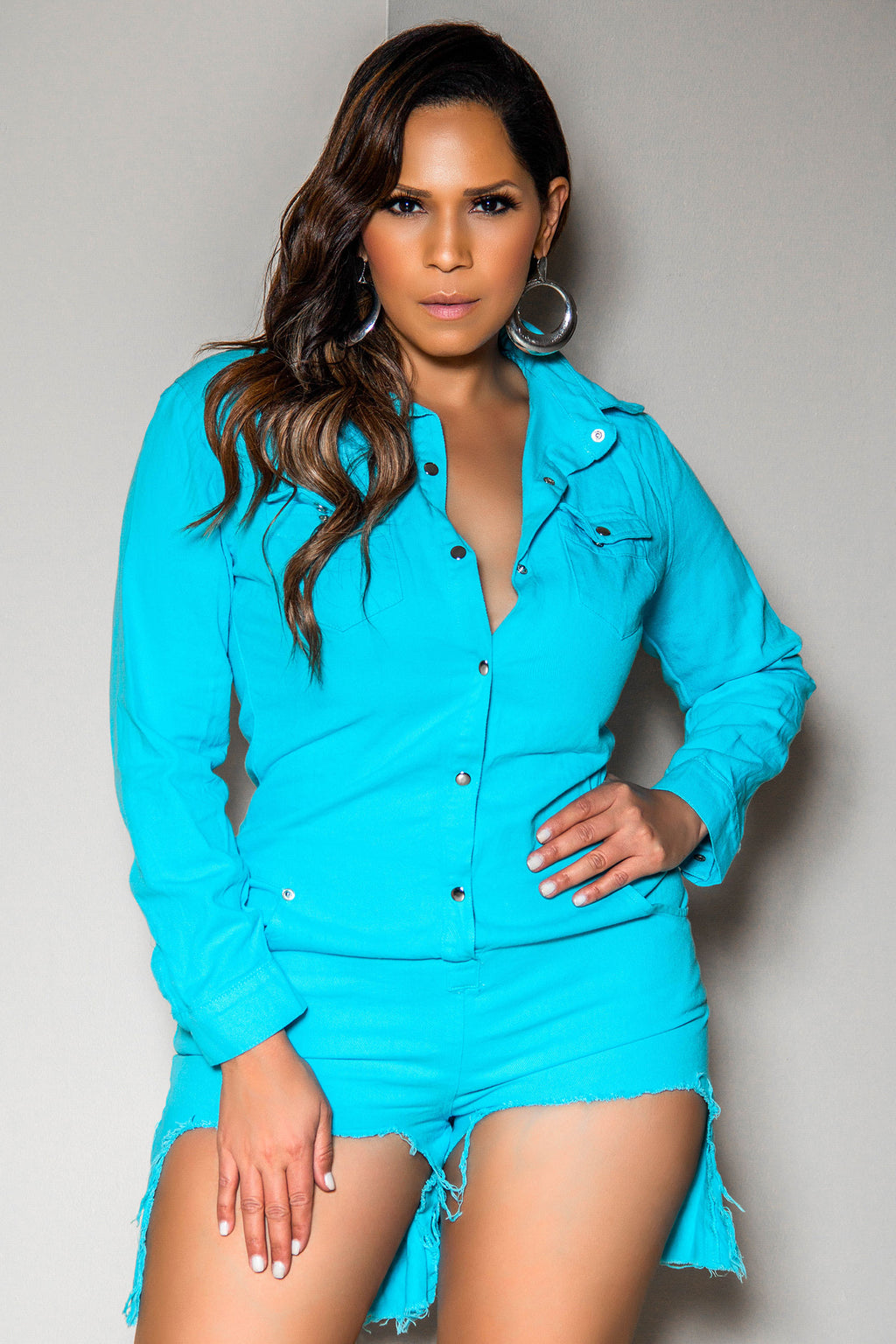 Julieta Turquoise Long Sleeve Clubbing Denim Romper With Pockets