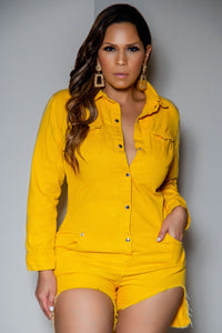 Julieta Yellow Long Sleeve Clubbing Denim Romper With Pockets