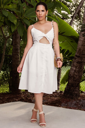 Justice Front Tie Spaghetti Strap Button Down A-Line Backless Summer Midi Dress in Ivory