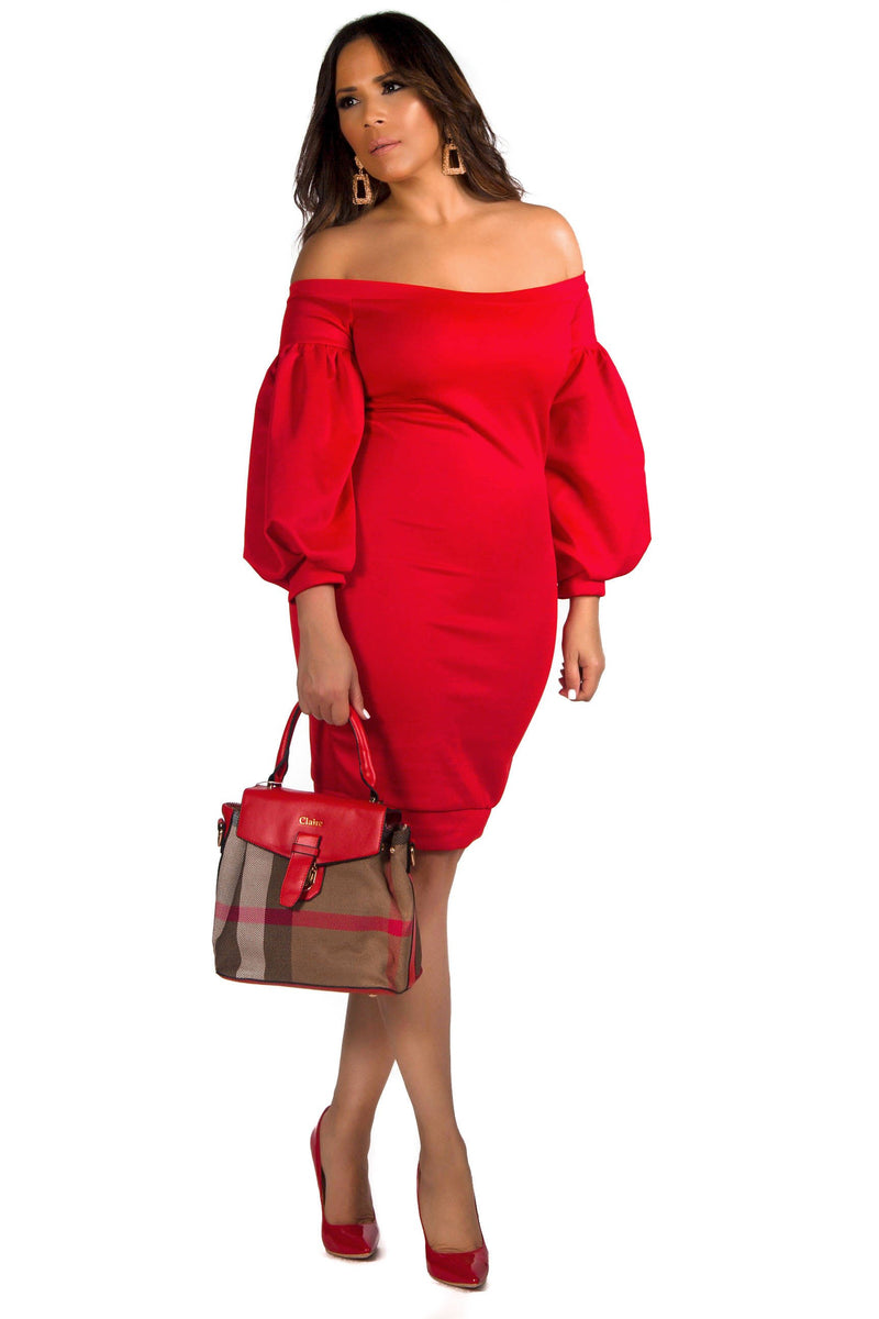 Justice Puff 3/4 Sleeve Off The Shoulder Bodycon Party Pencil Midi Dress