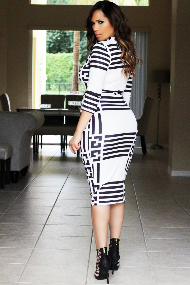 Kaia Black White Geometric Print Quarter Sleeves Bodycon Dress