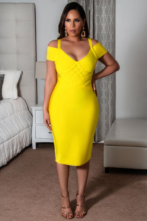 Kamila Off Shoulder V Neck Bandage Party Bodycon Dress