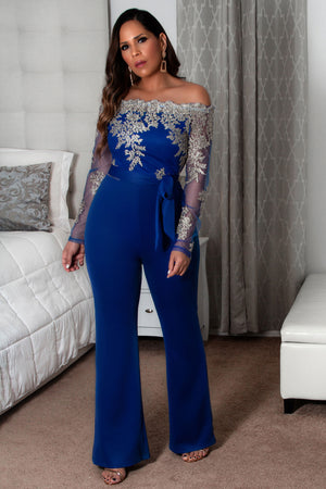 Kara Sexy Off Shoulder Floral Lace Long Sleeve Bodycon Wide Leg Jumpsuit w Waist Tie