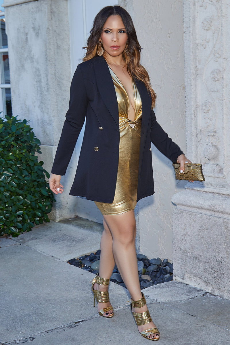 Karina Gold Foil Faux Leather Sleeveless Knotted V-Neck Mini Dress