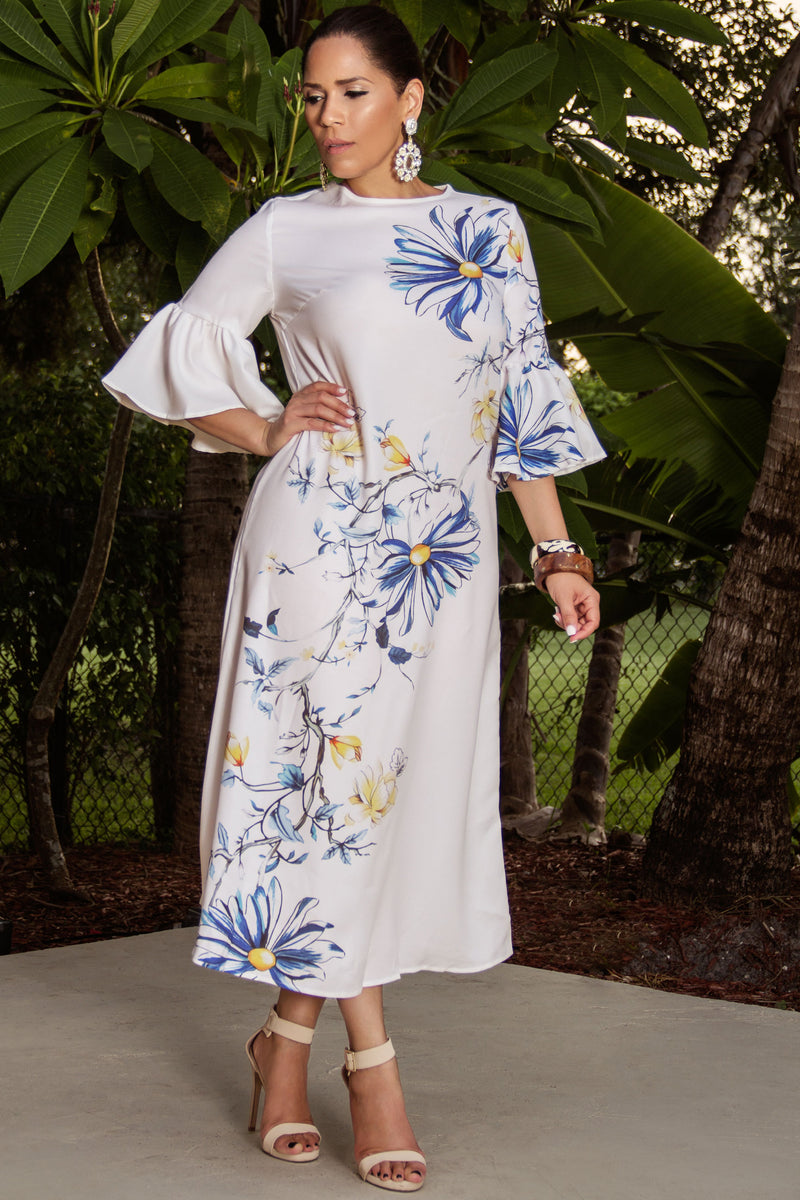 Karla Floral Print Bell Sleeves Classy Maxi Dress