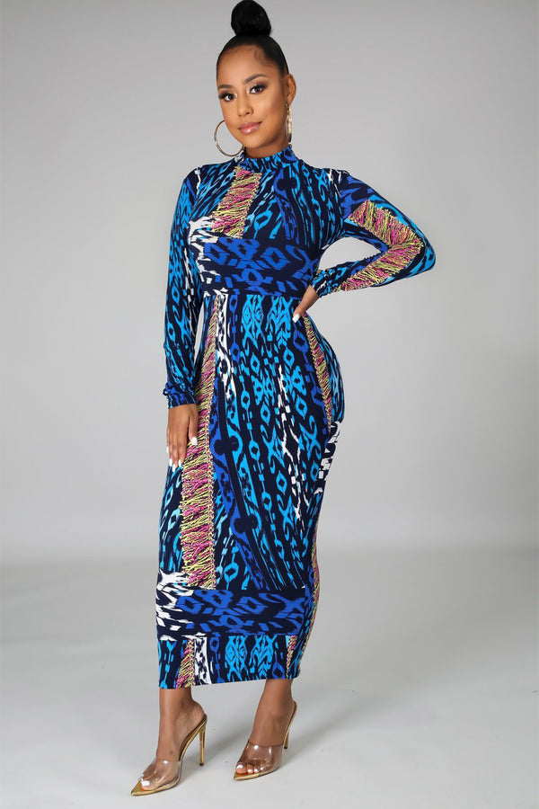 Kath Abstract Print Long Sleeve Bodycon Midi Dress