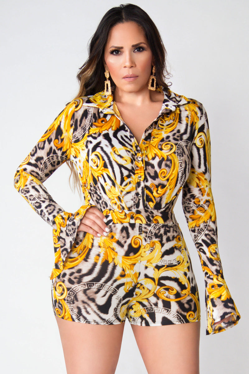 Kathryn Animal Print Long Sleeves Bodycon Romper