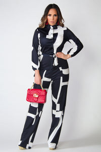 Katie Black White Geometric Print Long Sleeves Shirt Jumpsuit