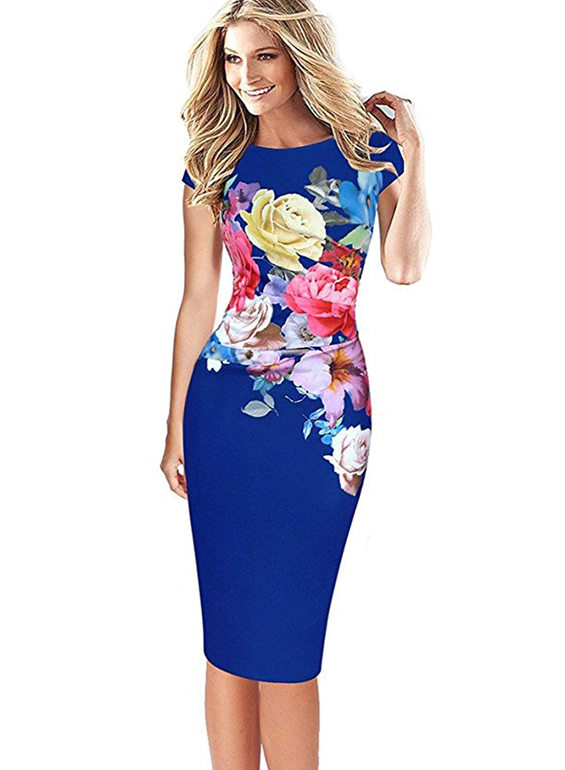 4a6f391cf5ee Kaydence Flower Print Slimming Bodycon Pencil Cocktail Dress – MY ...