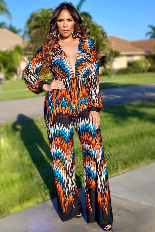 Kaylee Tribe Print V-Neck Long Sleeves Jumpsuit