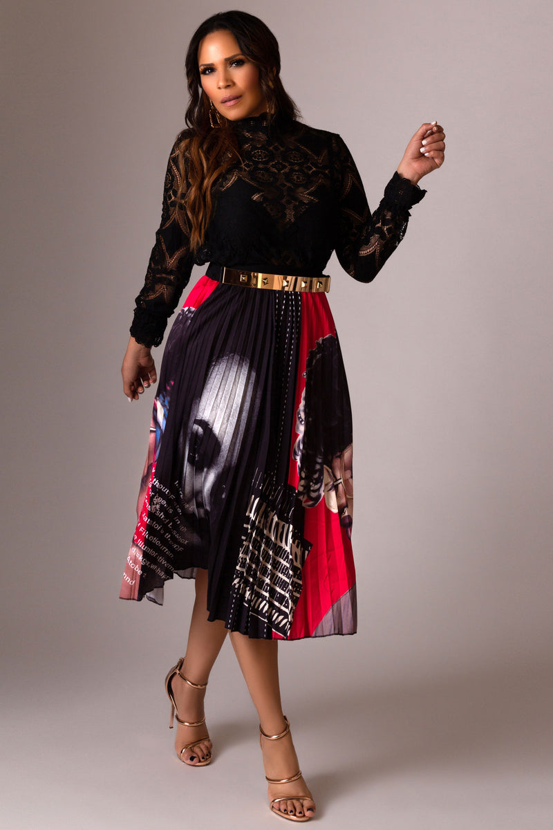 Kehlani Graffiti Cartoon Printed Elastic Waist A-Line Pleated Skirt