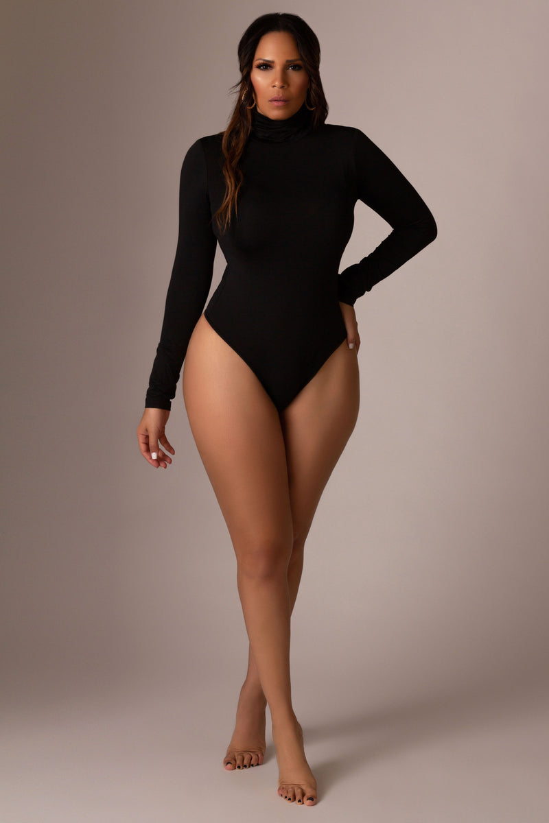 Keira Turtle Neck Top Long Sleeves Bodycon Bodysuit Thong Leotard